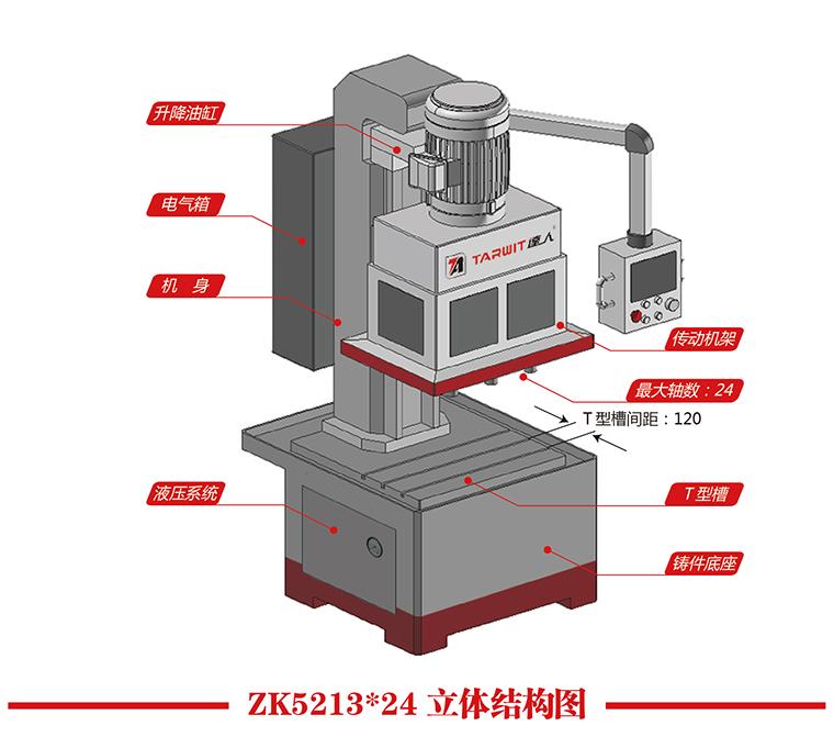 机型:ZK5213*24/8Y 工件名称:圆棒料 工件材质:45#钢 钻孔深度:30mm棒料通孔 加工孔数:8pcs 加工时间:60s  1)一次最多可以同时钻24个孔,3~13mm的孔径都可以。 2)孔与孔之间的中心距可以在30~300mm之间任意调整。钻床的主轴位置亦可以任意调整。 3)钻床进给动力用液压进给,动力强劲,可以钻不锈钢。光栅尺精密控制进给深度。 4)钻床整个机身都是铸件制成,坚固耐用,性能稳定可靠,使用寿命长。 5)数控钻床,控制面板为PLC触摸屏。具有自动退刀功能,多段进给多次排屑,能