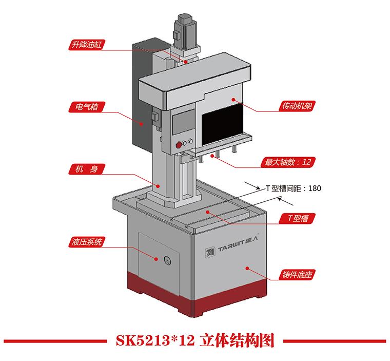 机型:SK5213*12 工件名称:法兰 工件材质:Q235 攻丝孔径:M8mm 加工深度:20mm 加工孔数:8 加工时间:20s  1)一次最多可以同时对12个孔进行攻丝,M3~M12mm的孔径都可以。 2)使用新型主轴伺服电机,使主轴转速更高,进给深度亦由伺服电机控制,攻丝深度可精准控制。 螺纹的螺距可自由设定,满足各种螺纹加工。 3)孔与孔之间的中心距可在30~300mm之间任意调整。钻床主轴位置在180*300mm面积内任意调整。 4)机床采用浮动攻丝,不易断钻头,同孔可重复攻丝不断牙。 5)机